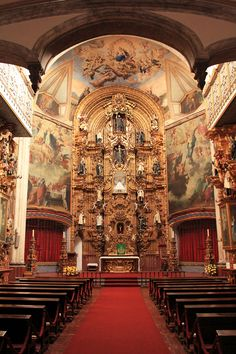 "The Sanctuary and High Altar of the Templo de Nuestra Señora del Pilar, ""La Enseñanza"" in Mexico. A very elegant church."