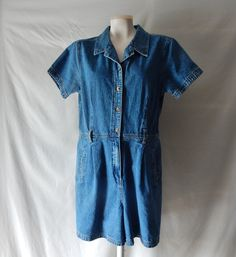 Sz L Romper by Gloria Vanderbilt - Denim Jean Dungaree - Onesie Jumpsuit Coverall Overalls Shorts by CocoRoseVintage on Etsy