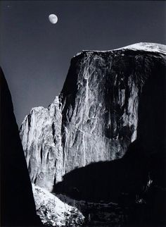 Ansel Adams, American 1902-1984- ''Moon and Half Dome, Yosemite National Park, California'', from the special edition Photographs of Yosemite by Ansel Adams, printed by Alan Ross from Ansel Adams' original negative under his supervision, c.1974-1979; silver gelatin print, 23.9x18cm