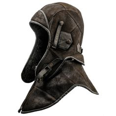 Genuine leather pilot aviator or motorcycle cap with detachable collar. Made of hide leather. on Etsy, $84.00