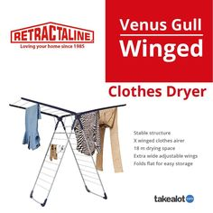 The has a massive 18 m drying space with extra wide adjustable wings for versatile drying. Don't be stuck in the past and upgrade today with Clothes Dryer, Love Your Home, Gull, Venus, Laundry, Space, Laundry Room, Floor Space, Laundry Service
