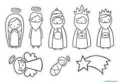 Free printable nativity + coloring pages Christmas Activities, Christmas Crafts For Kids, Xmas Crafts, Christmas Art, Diy Nativity, Christmas Nativity Scene, Idees Cate, Nativity Coloring Pages, Ramadan Crafts