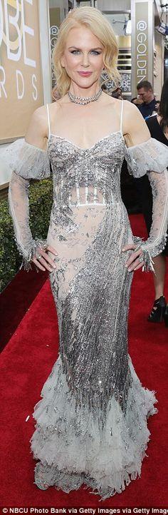 Silver and foxy! Drew Barrymore, Nicole Kidman and Sofia Vergara sparkle in metallic shade...