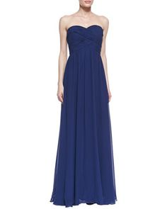 Strapless Ruched Bodice Gown, Navy by Faviana at Neiman Marcus.