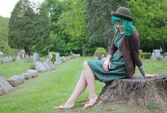 The Dainty Squid: what I wore : green with polka dots!