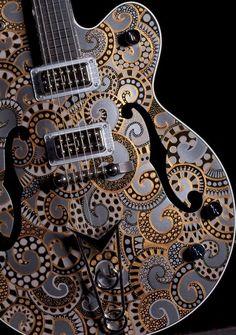 Beautiful Gretsch Guitar Custom Artwork | Galaxy | Sarah Gallenberger does custom artwork for the top guitar companies in the world.