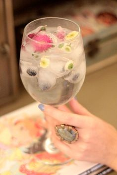 flowers in ice cubes.