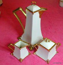 Old Abbey Limoges (Ouro Design) Bule De Café & Açucareiros e cremeiras conjunto Exc