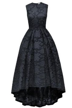 Black lace round neck high low sleevelessA-line long prom dress  ,evening dresses - occasion dresses by Sweetheartgirls