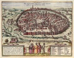 Part of Civitates Orbis Terrarum (Towns of the world) by George Braun & Frans Hogenberg. This is a pictorial map of Jerusalem (1560). Heavily religiously baised this image served to educate people about what jerusalem and its people were like. The people in the front have been dressed in the clothes that people would have typically worn. There was a public demand for knowledge about the cities of the world as this was where social, political and economics were changing and developing the…