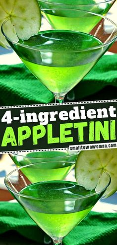Need a little rest and relaxation when entertaining? Thanks to this 4-ingredient cocktail that only takes less than 2 minutes to prepare, you can have time to socialize. Plus, you can serve up this easy game day drink at a New Year party! Save this Appletini recipe! Apple Martini Recipe Vodka, Appletini Recipe, Martini Recipes, Liquor Drinks, Fun Drinks, Yummy Drinks, Alcoholic Drinks, Party Drinks, Green Drink Recipes