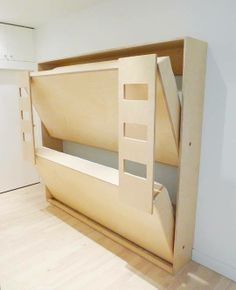 ❧ Bunk Beds by Casa Kids & their Dumbo Double Murphy Bed, designed by Roberto Gil. He has created sleeping quarters for two that fold up into a small cabinet only deep. Cama Murphy Ikea, Murphy Bunk Beds, Murphy Bed Plans, Kids Bunk Beds, Loft Beds, Corner Bunk Beds, Bunk Bed Plans, Bunk Beds With Stairs, Kids Beds Diy