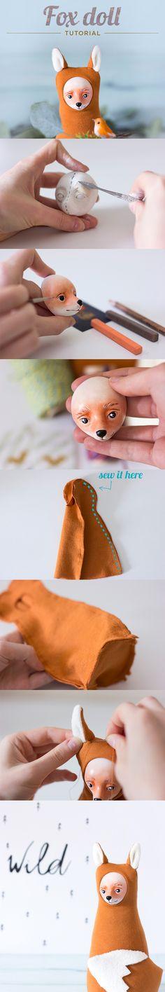 Fox doll tutorial, DIY plush woodland doll, red fox tutorial, sewing pattern, fox sculpting tutorial