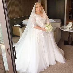"""30 Likes, 9 Comments - A DASH OF BLEU© (@adashofbleu) on Instagram: """"This bride is gorgeous in her Pallas Haute Couture Gown-- #plussize #curvybride #adashofbleu…"""""""