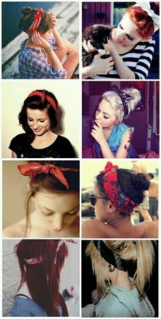 So cute for a pin up girl vibe Bandana Hairstyles, My Hairstyle, Pretty Hairstyles, Summer Hairstyles, Easy Hairstyles, Gossip Girl Serie, Corte Y Color, Hair Day, Bad Hair