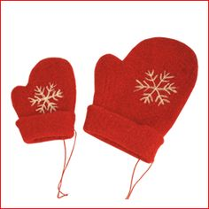 Felt Red Mittens Large and Small