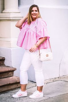 $50 - $100 Cool Spring Summer Street Style Blogger Plus Size White Denim Jeans Pink And White Gingham Checked Blouse And Pink And White Adidas Superstars Sneakers