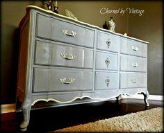 French Provincial Shabby Glam Blue Dresser by CharmedByVintage. $395.00 USD, via Etsy.