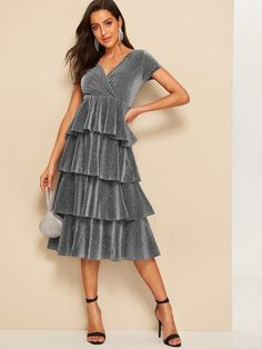 eb13cfe58ef7 Plunge Wrap Neck Layered Ruffle Glitter Going Out Midi Dress - Popviva  #sequin #sequindress