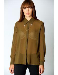 Imogen Chiffon Shirt With Skull Chain Simple Shirts, Chiffon Shirt, Blouse Styles, Blouses For Women, Rain Jacket, Windbreaker, Women's Shirts, Stylish, My Style