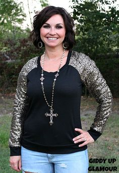 Off The Beaten Path Black Shirt with Gold Sequin Sleeves www.gugonline.com