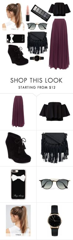 """""""day at the beach #2"""" by haleyhonaker ❤ liked on Polyvore featuring Halston Heritage, Jessica Simpson, Casetify, Ray-Ban, NIKE, Freedom To Exist and MAC Cosmetics"""