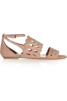 Alaïa Laser-cut suede sandals | NET-A-PORTER