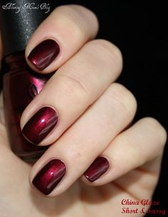 China glaze nail polish in an unknown deep red metallic polish-Valentine's Day!!!