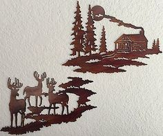 Cabin Wall Art log cabin and deer mountain scene - wall art - metal art - home