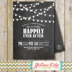 Engagement party announcement from Yellow Lily Design Studio on Etsy.