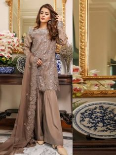 Pristine beige embroidery straight cut suit online which is crafted from chiffon fabric with exclusive embroidery. This stunning designer straight cut suit comes with raw silk bottom and chiffon dupatta. Women's A Line Dresses, Salwar Suits Online, Gowns Online, Straight Cut, Chiffon Fabric, Evening Gowns, Wedding Gowns, Beige, Embroidery