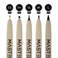 set of 16 black master markers micro-pen fineliner