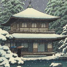 Ginkakuji Temple in Snow, 1951 by Kawase Hasui