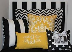 Pretty black and gold pillows for the dorm room!