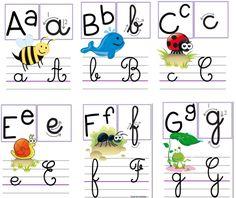 Alphabet, c est trop beau ! French Flashcards, Flashcards For Kids, Worksheets For Kids, Police Cursive Standard, Homeschool Kindergarten, Preschool, Alphabet Display, French Education, Craft Online