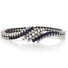 Estate Sapphire Diamond White Gold Cocktail Bracelet  #estatejewelry #sapphirebracelet #cocktailbracelet #diamondbracelet #consignment