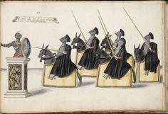 Doctors running at the quintain--costume sketch for a French Ballet by Daniel Rabel, 1620s