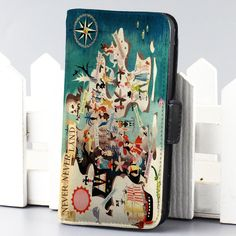 Peter Pan Never Never Land Disney wallet case for iphone 4,4s,5,5s,5c,6 and samsung galaxy s3,s4,s5 - LSNCONECALL.COM