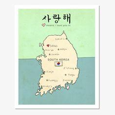 Children Decor Wall Art South Korean Map Travel Poster - I Love You in South Korea (set 1) -Asian Travel Illustration Print