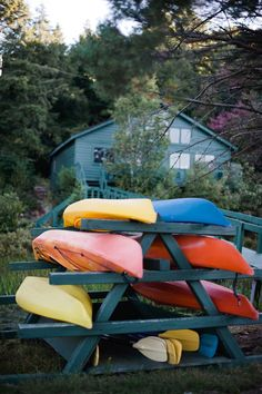 Kayak Rack - A summer camp wedding? Can you even imagine the amount of fun this adorable couple and their guests had throughout this detail-filled weekend? I mean, the wedding party arrived on canoe. Diy Kayak Storage, Boat Storage, Storage Racks, Storage Ideas, Kayak Holder, Kayak Rack, Kayak Camping, Canoe And Kayak, Sea Kayak
