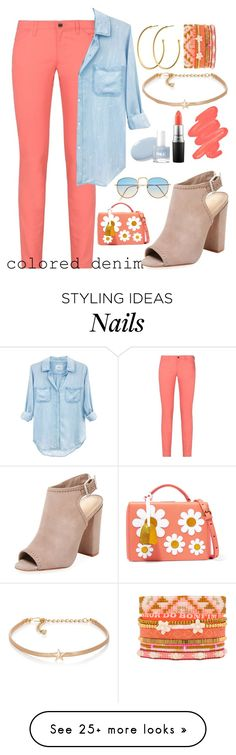 """""""colored denim"""" by ashley-andreasen on Polyvore featuring Armani Jeans, Rails, Hipanema, Schutz, Dyrberg/Kern, Mark Cross, Obsessive Compulsive Cosmetics, MAC Cosmetics and Kenneth Jay Lane"""