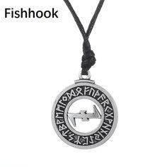 fishhook Wicca Religious Odins Raven Crow 24 Amulet Runes Triskelion Pendant Necklace