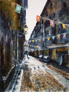 """"""" La calle del perro"""" Bilbao, watercolour by Zaira Dzhaubaeva, Russia.Available bpbilbao@gmail.com"""