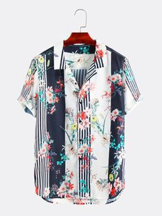 ChArmkpR Mens Funny Floral Printed Turn Down Collar Short Sleeve Casual Shirts is designer and cheap on Newchic. Casual Shirts, Casual Outfits, Male Outfits, Men Shirts, Shirt Dress Pattern, Shirt Print Design, Summer Dress Outfits, Mixing Prints, Stylish Men
