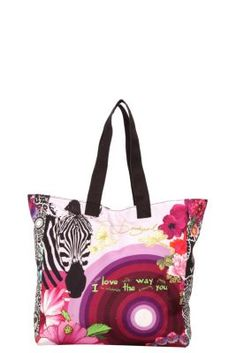 Desigual women's Shopping Ampli bag. A maxi bag with a short shoulder strap, snap closure and a single inner compartment.