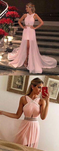 Unique pink chiffon long prom dress, pink evening dress, pink formal dress