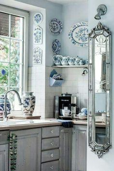 Pretty Kitchen with Blue and White Accents