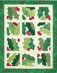 Happy Holly Days by Diane Volk Harris, made with free form applique. Published in Quiltmaker, Nov/Dec '09.