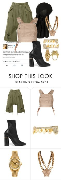 """""""DONT TALK ABOUT MY STYLE."""" by svndrv ❤ liked on Polyvore featuring R13, G.V.G.V., 3.1 Phillip Lim, Rolex, Versace and John Brevard"""