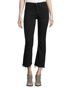Mid-Rise+Cropped+Flare-Leg+Jeans,+Black+Coal+by+rag+&+bone/JEAN+at+Neiman+Marcus.